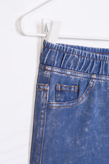 Stretch denim shorts with turned up hem, Dark Blue, hi-res