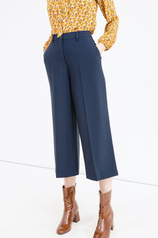 Gaucho trousers with crease, Dark Blue, hi-res