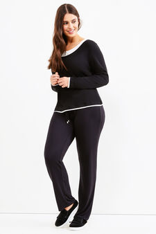 Curvy trousers with drawstring, Black, hi-res