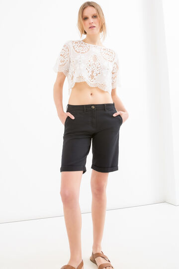 Stretch cotton twill shorts, Black, hi-res