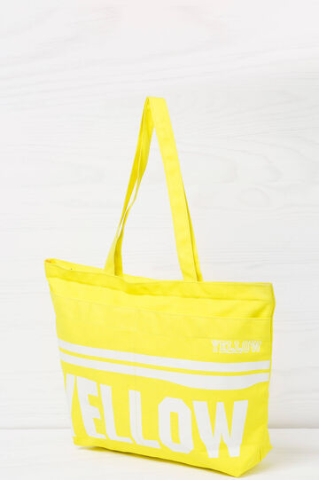 Cotton shopping bag with print, Yellow, hi-res