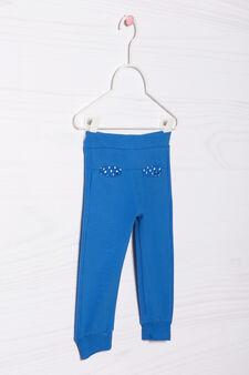 Pantaloni tuta cotone stretch, Blu, hi-res
