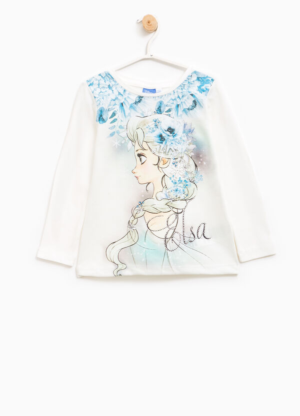 T-shirt with maxi Frozen print and diamantés | OVS