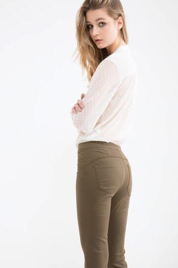 Solid colour jeggings with regular waist, Olive Green, hi-res