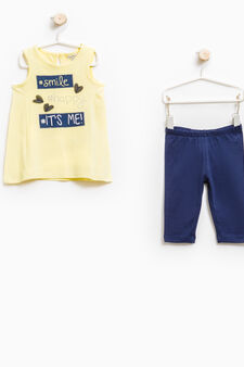 Stretch cotton top and leggings set, Blue/Yellow, hi-res