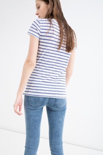 V-neck cotton T-shirt, White/Blue, hi-res