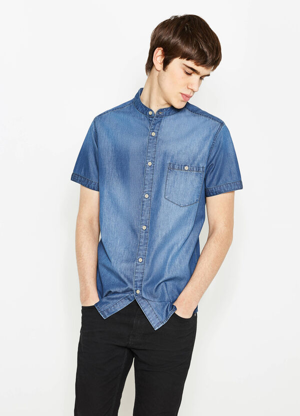 Denim casual shirt with mandarin collar | OVS
