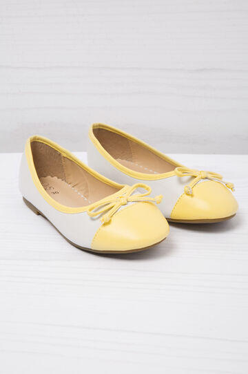 Round toe leather-look ballerina flats, White/Yellow, hi-res