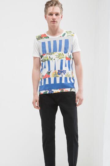 T-shirt puro cotone maxi stampa, Bianco, hi-res
