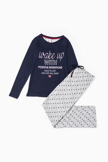 Polka dot pyjamas in 100% cotton, Navy Blue, hi-res
