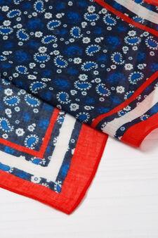 Printed headscarf, Navy Blue, hi-res