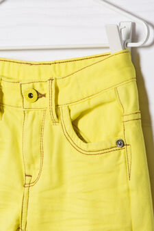 Five-pocket solid colour Bermuda shorts, Yellow, hi-res