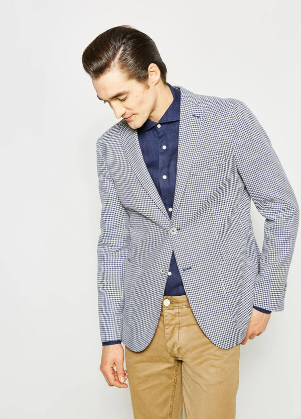 Rumford jacket in patterned cotton and linen | OVS