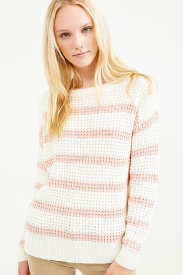 Striped pullover with boat-neck, White, hi-res
