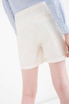 Shorts puro cotone tinta unita, Bianco latte, hi-res