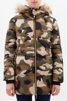Camouflage down jacket with hood, Army Green, hi-res