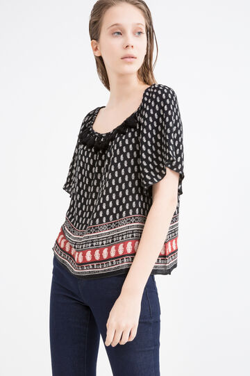 Printed blouse in 100% viscose, Black, hi-res