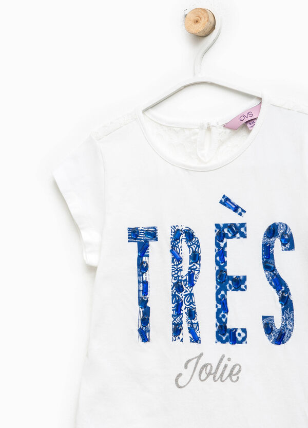 T-shirt with glitter print and lace back | OVS