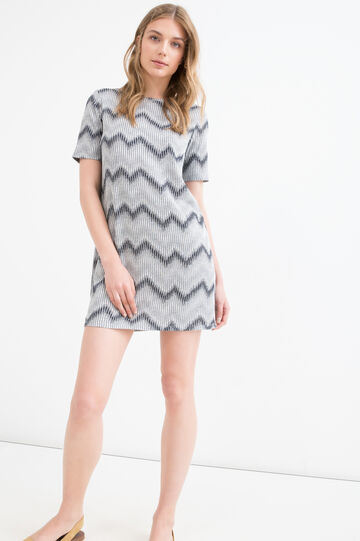 Striped short dress in viscose blend, Grey, hi-res