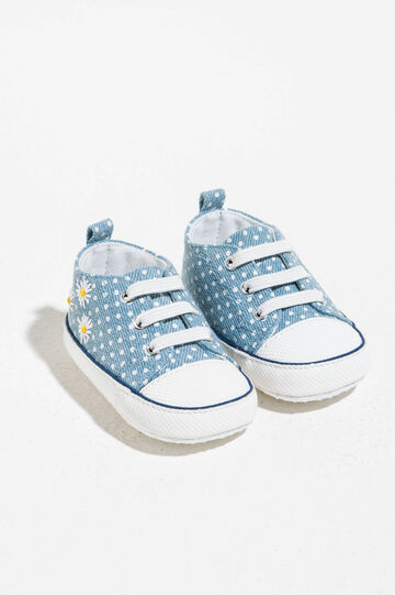 Polka dot sneakers with daisy embroidery, White/Light Blue, hi-res