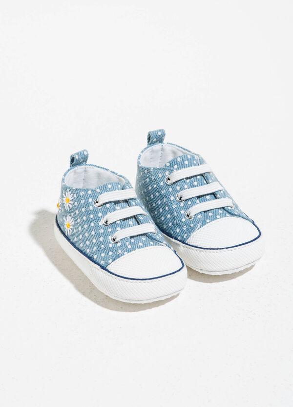Polka dot sneakers with daisy embroidery | OVS