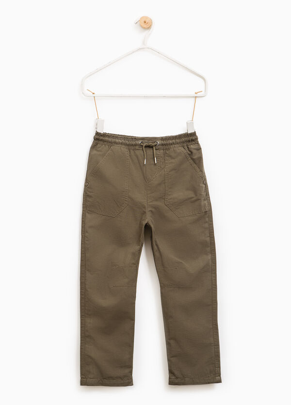 Cotton blend trousers with drawstring | OVS