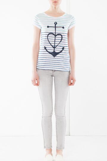 T-shirt cotone maniche corte, Bianco latte, hi-res