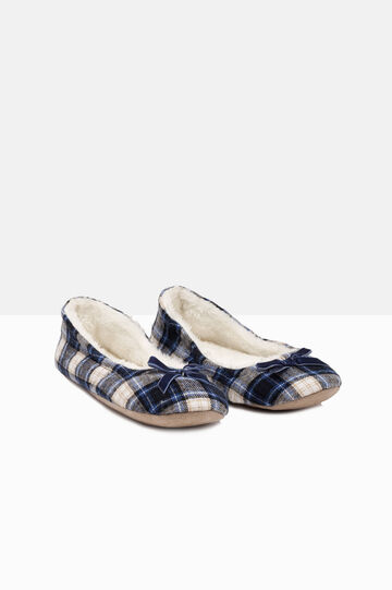 Ballerina flat slippers with fur, Blue/Grey, hi-res