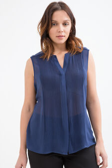 Curvy sleeveless cotton blouse, Blue, hi-res