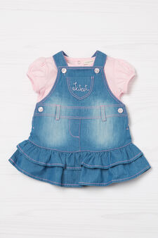 Denim dungaree skirt and T-shirt outfit, Denim, hi-res