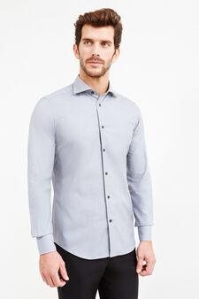 Slim fit cotton formal shirt, Grey, hi-res