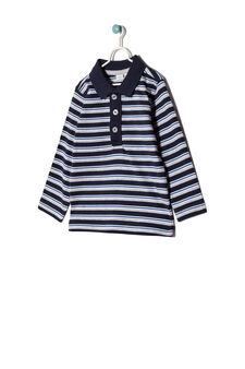 100% cotton striped polo shirt, Grey/Blue, hi-res
