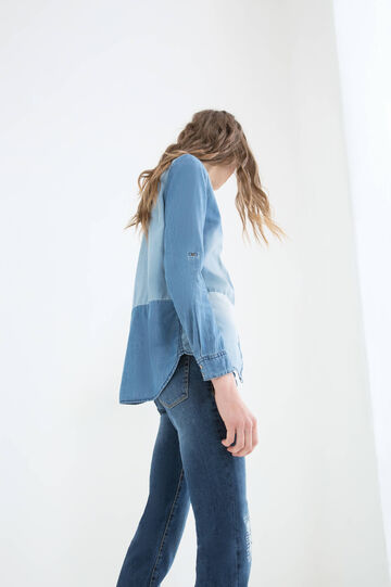 Worn-effect denim blouse, Denim, hi-res
