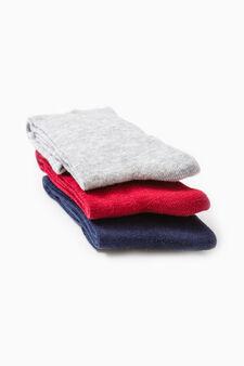 Three-pair pack solid colour long socks, Navy Blue, hi-res