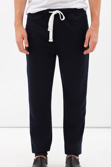 Cotton blend joggers with drawstring, Dark Blue, hi-res