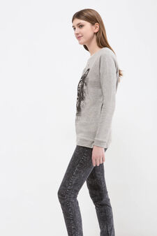 Cotton blend sweatshirt with printed lettering, Grey, hi-res