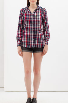Tartan shirt with denim hood., White/Blue, hi-res