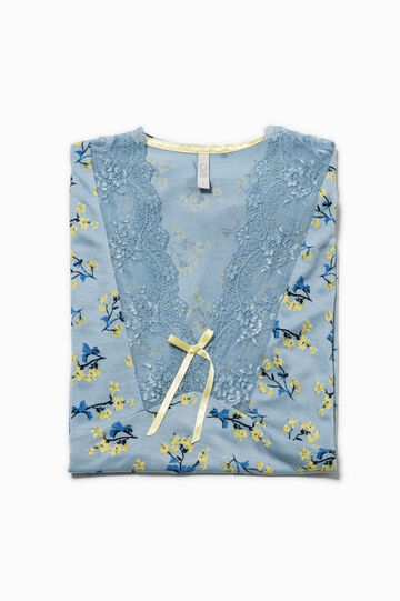 Floral pyjama top with lace
