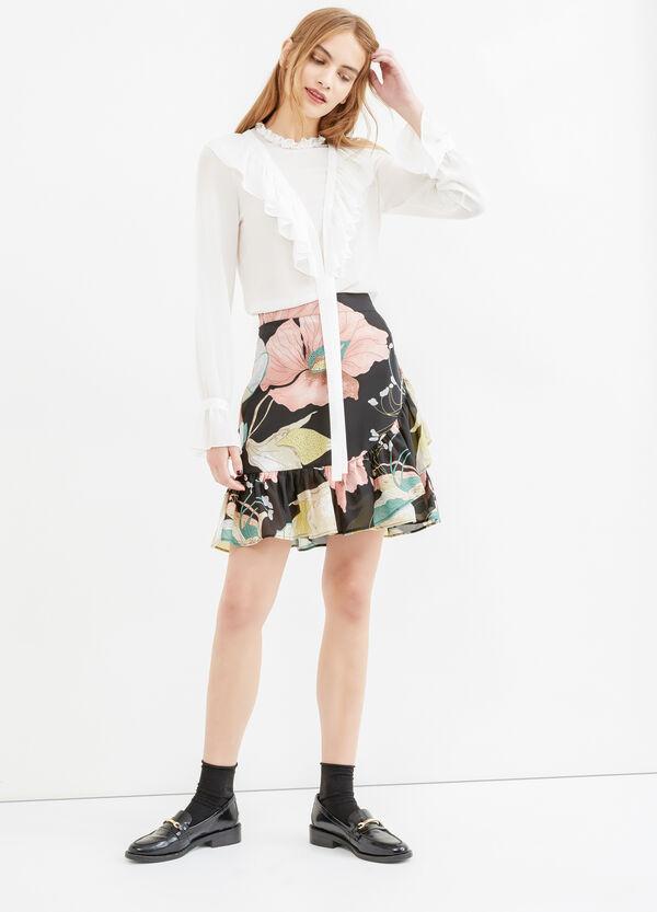 Falda de talle alto con estampado por todo | OVS