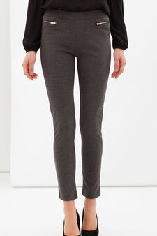Stretch leggings with zip, Grey Marl, hi-res