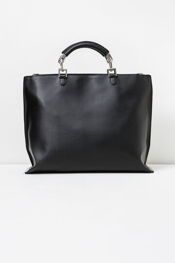 Solid colour handbag with chain, Black, hi-res
