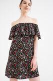 100% viscose dress with frills, Black, hi-res