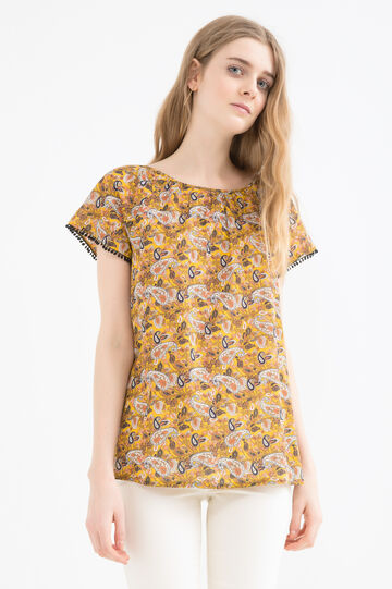 Contrasting pattern blouse, Yellow, hi-res