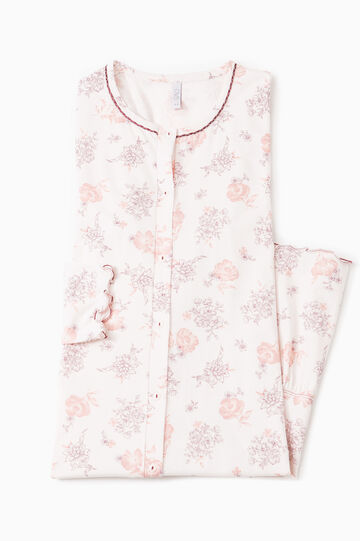 Camicia da notte fantasia floreale, Bianco, hi-res