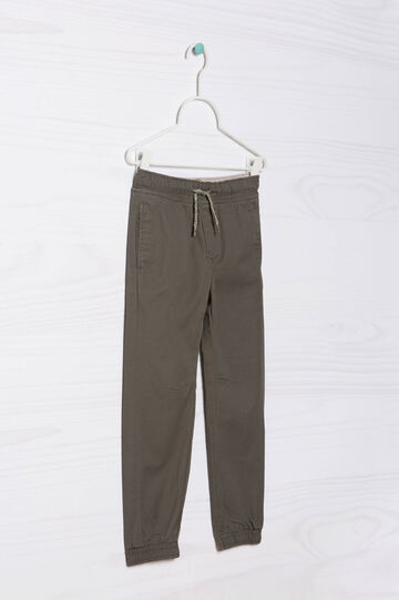 100% cotton joggers with drawstring, Grey, hi-res