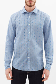 Optical gingham shirt in 100% cotton, White/Light Blue, hi-res
