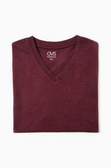 T-shirt intima cotone scollo V, Rosso, hi-res