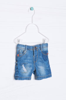 Shorts di jeans effetto delavé, Blu denim, hi-res
