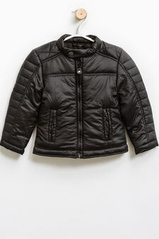 Solid colour down jacket with round neck., Black, hi-res