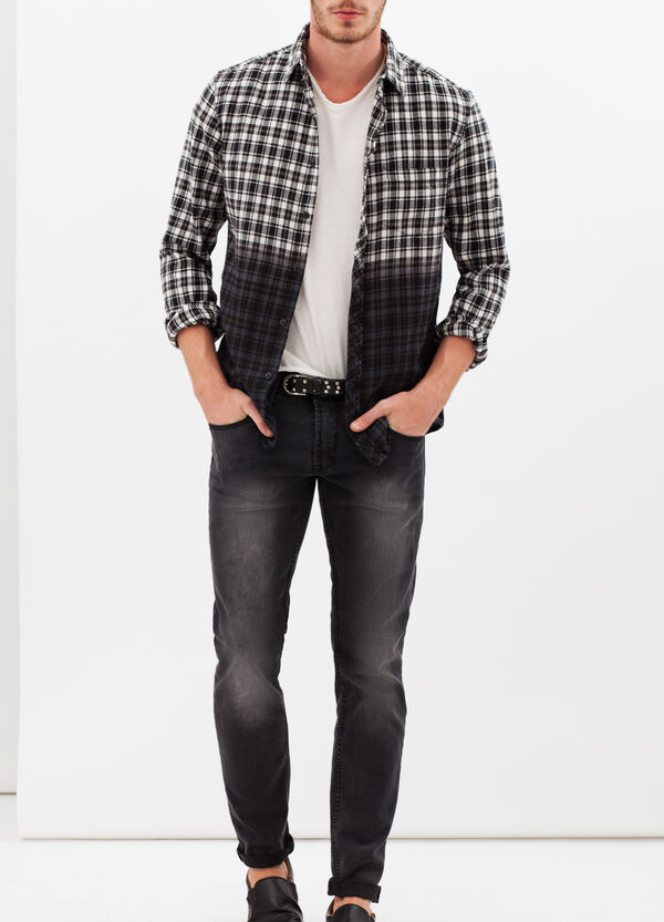 100% cotton shirt with shaded checks | OVS
